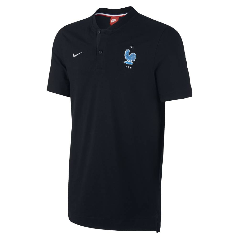 France 2017 2018 authentic gs slim polo shirt black for Black polo shirt images