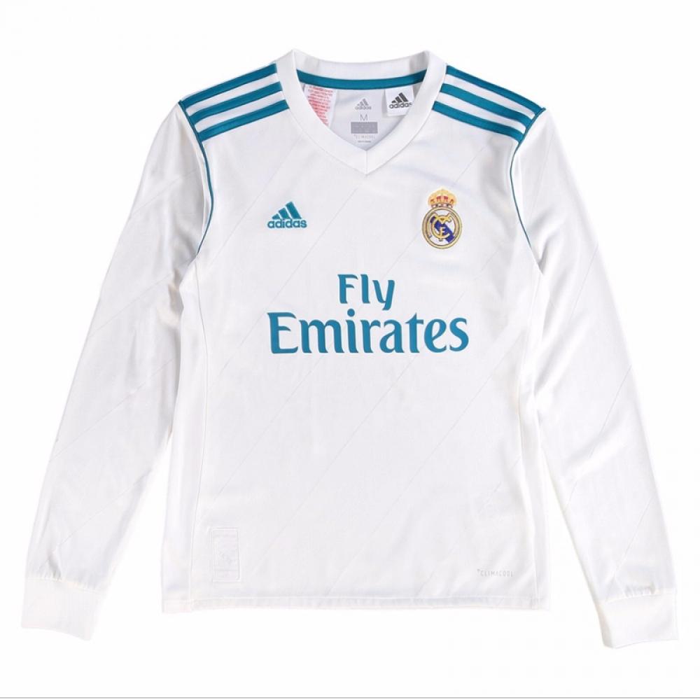 timeless design 1b9d0 f8639 Real Madrid 2017-2018 Home Long Sleeve Shirt (Kids)