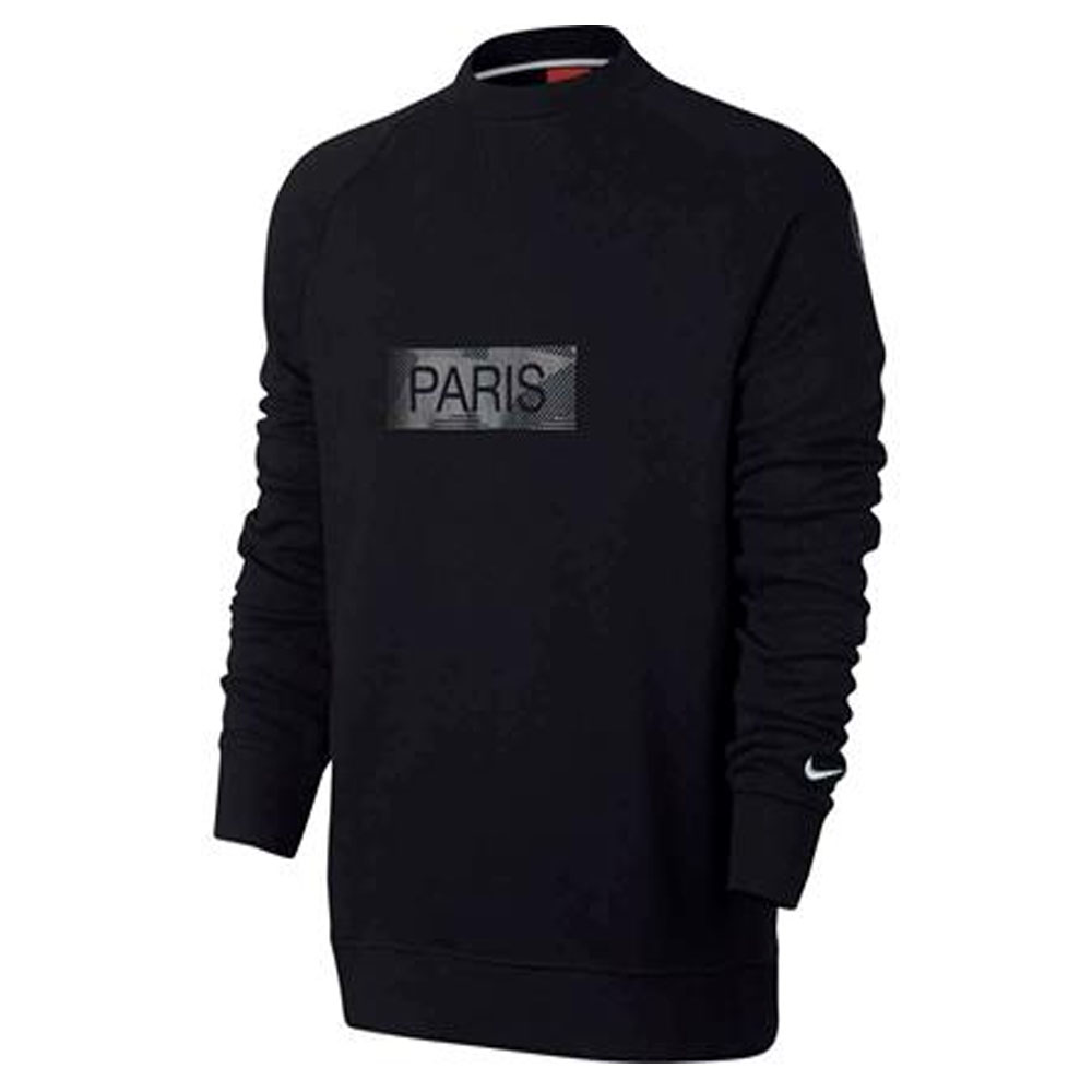 psg 2017 2018 crew neck sweat top black 886762 015. Black Bedroom Furniture Sets. Home Design Ideas