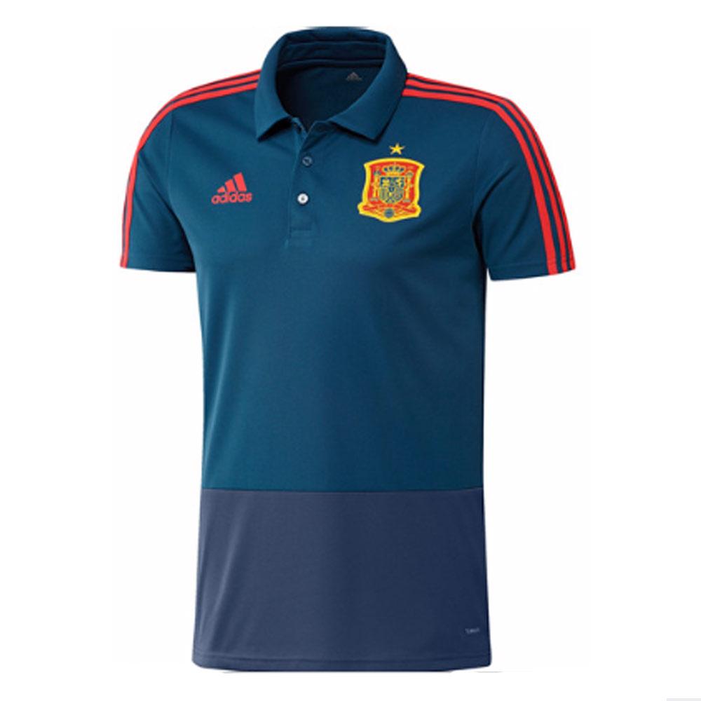 Spain 2018 2019 training polo shirt blue ce8811 50 for Spain polo shirt 2014