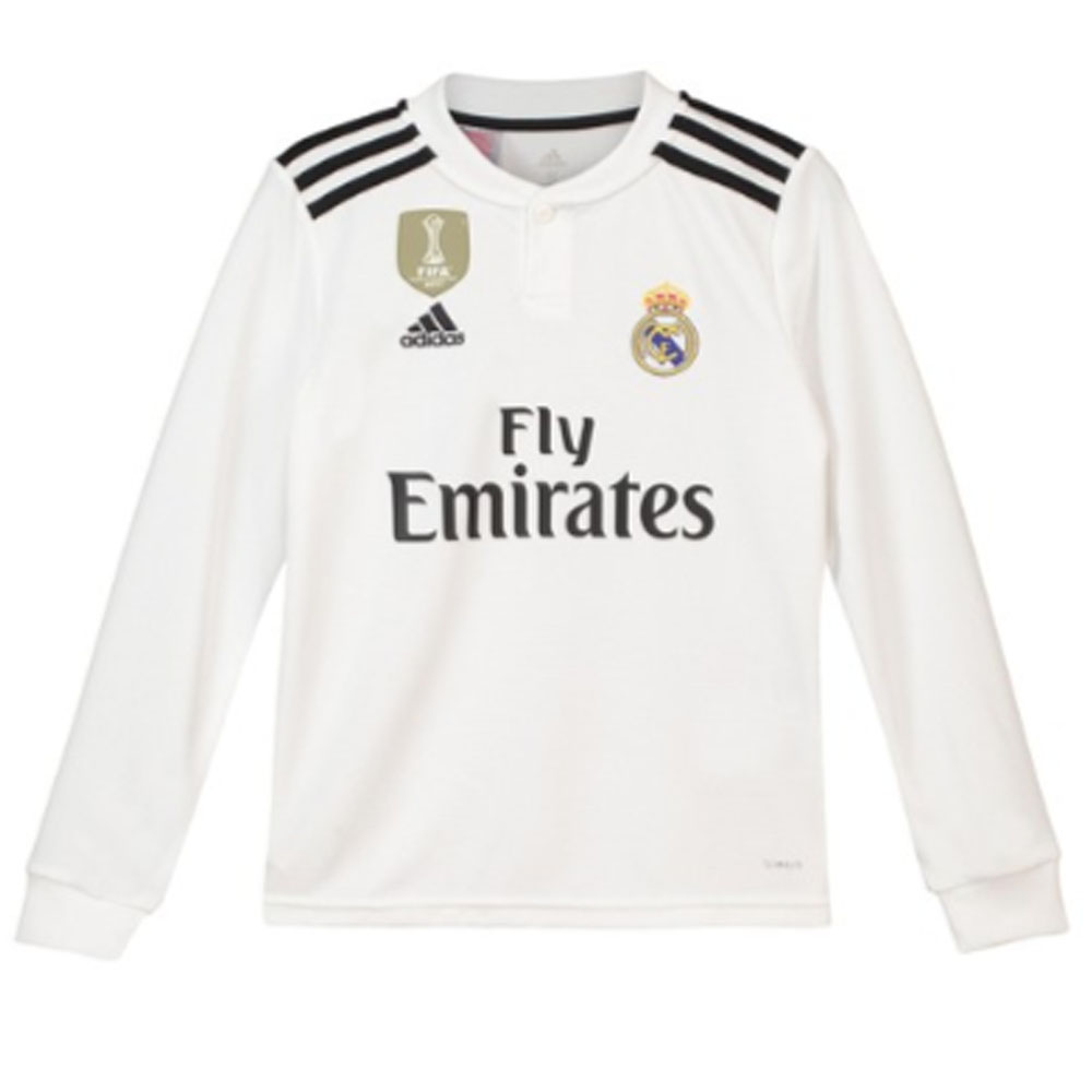 the best attitude 7e947 38a18 Real Madrid 2018-2019 Home Long Sleeve Shirt (Kids)