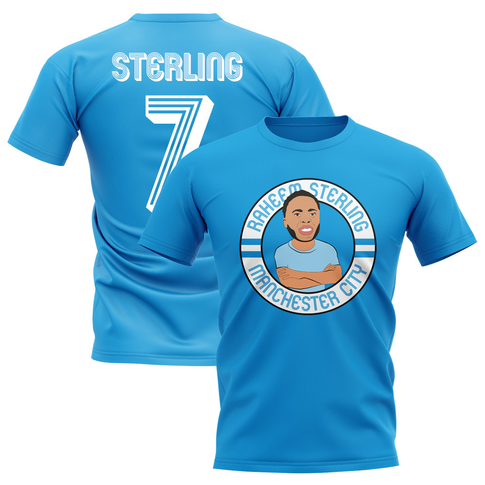 best website 1539a 92ce3 Raheem Sterling Man City Illustration T-Shirt (Sky)