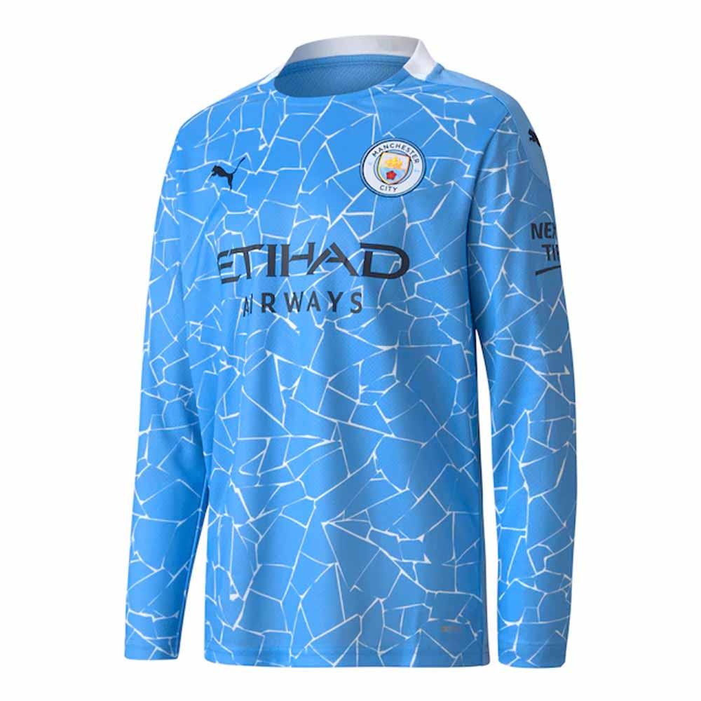 Manchester City 2020-2021 Home Long Sleeve Shirt (Kids)