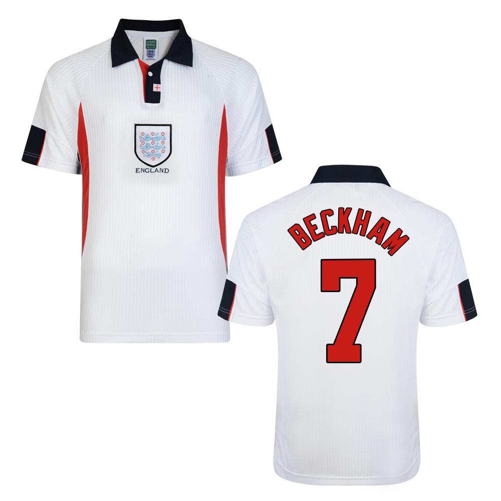 Score Draw England World Cup 1998 Home Shirt (Beckham 7)