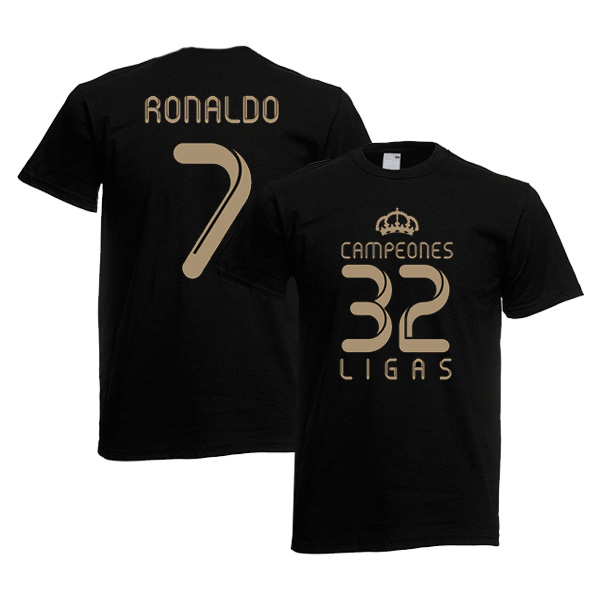 size 40 24349 1f4a8 2012 Real Madrid Champions T-Shirt (Black) - Ronaldo 7