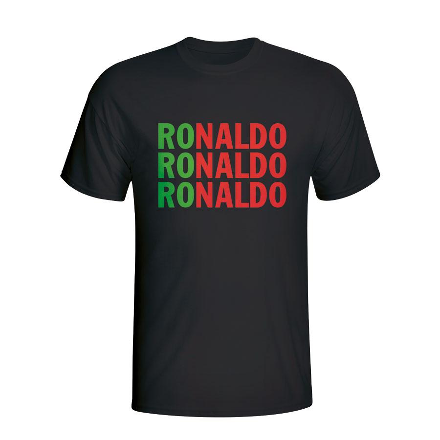 save off 6a075 54a59 Cristiano Ronaldo Portugal Player Flag T-shirt (black) - Kids