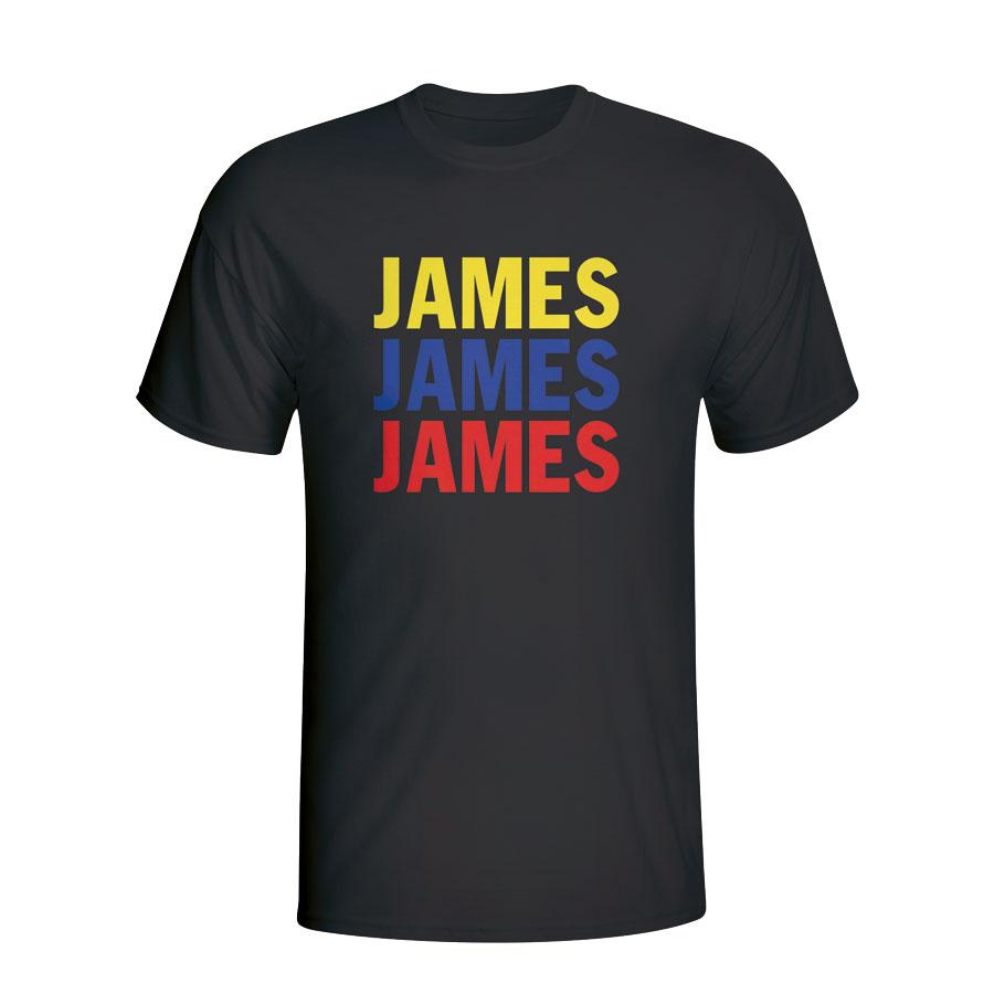 huge selection of 0d0db 19d35 James Rodriguez Colombia Player Flag T-shirt (black)