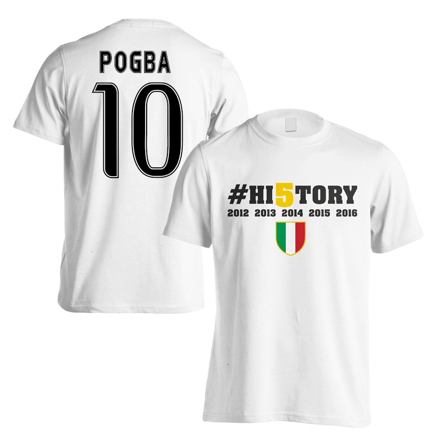 sports shoes 7ffc9 7b9d3 Juventus History Winners T-Shirt (Pogba 10) White - Kids