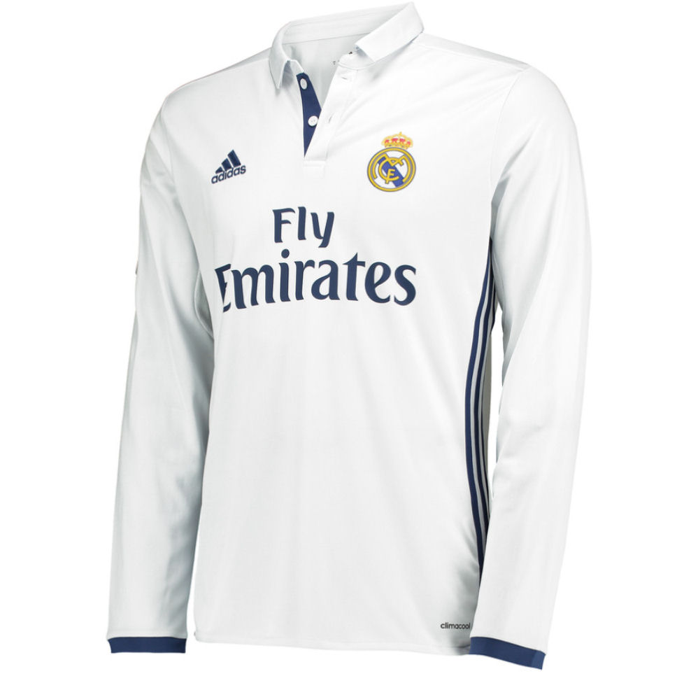 buy popular 5c359 eddab Real Madrid 2016-2017 Home Long Sleeve Shirt (Kids)