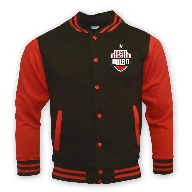 ac milan college baseball jacket black kids. Black Bedroom Furniture Sets. Home Design Ideas