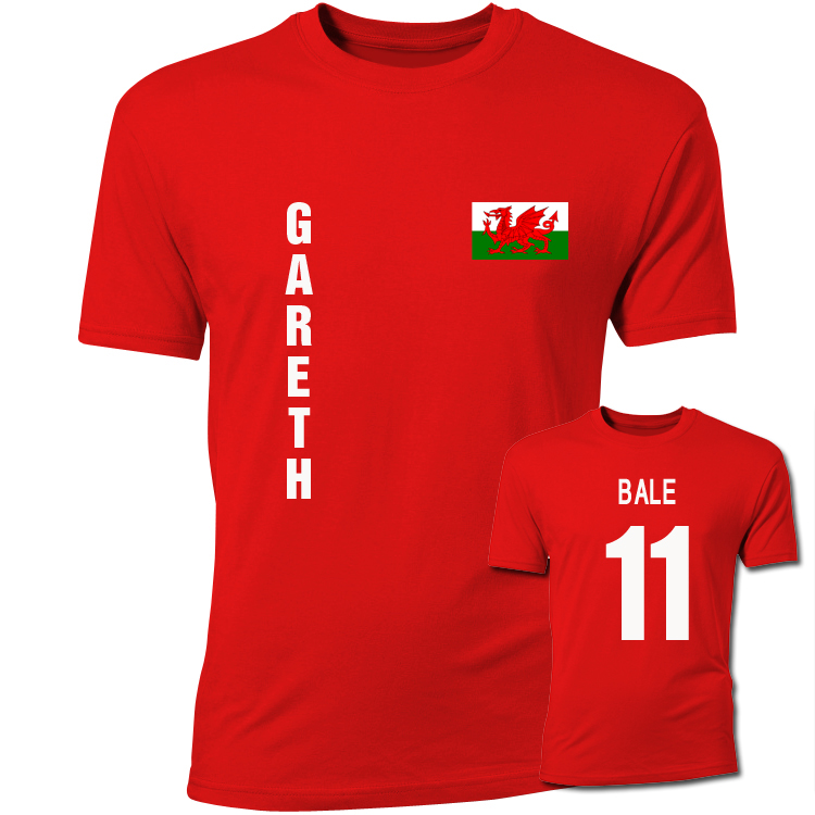 brand new f760a e784d Gareth Bale Wales Flag T-Shirt (Red)