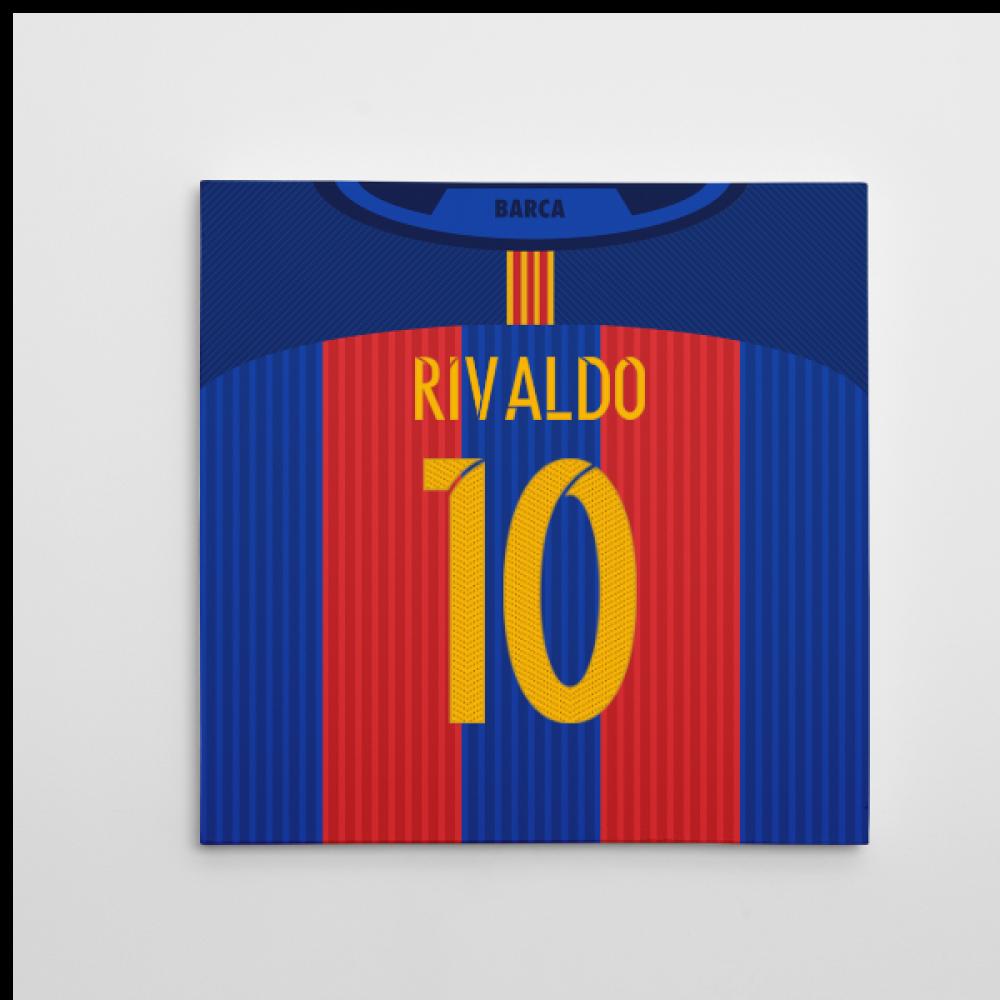 53eea4348 2016-2017 Barcelona Canvas Print (Rivaldo 10)  CANVAS001-91958 ...