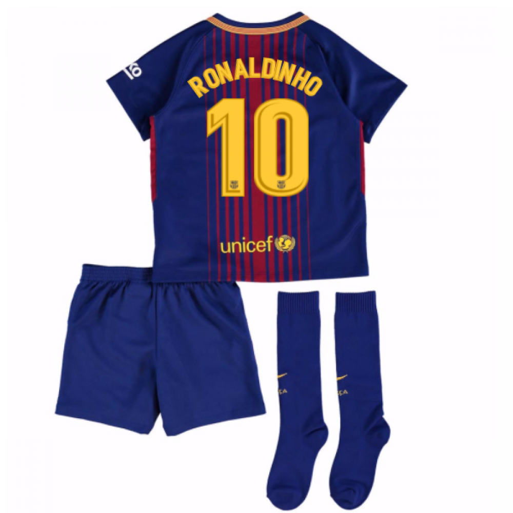 0cbc816a6 2017-18 Barcelona Home Mini Kit (Ronaldinho 10)  847355-457-101323 ...