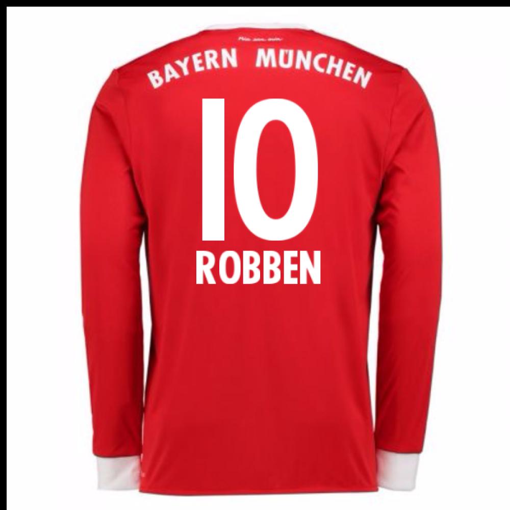 296d4e480 2017-18 Bayern Munich Home Long Sleeve Shirt (Kids) (Robben 10)  [AZ7953-93274] - $76.13 Teamzo.com