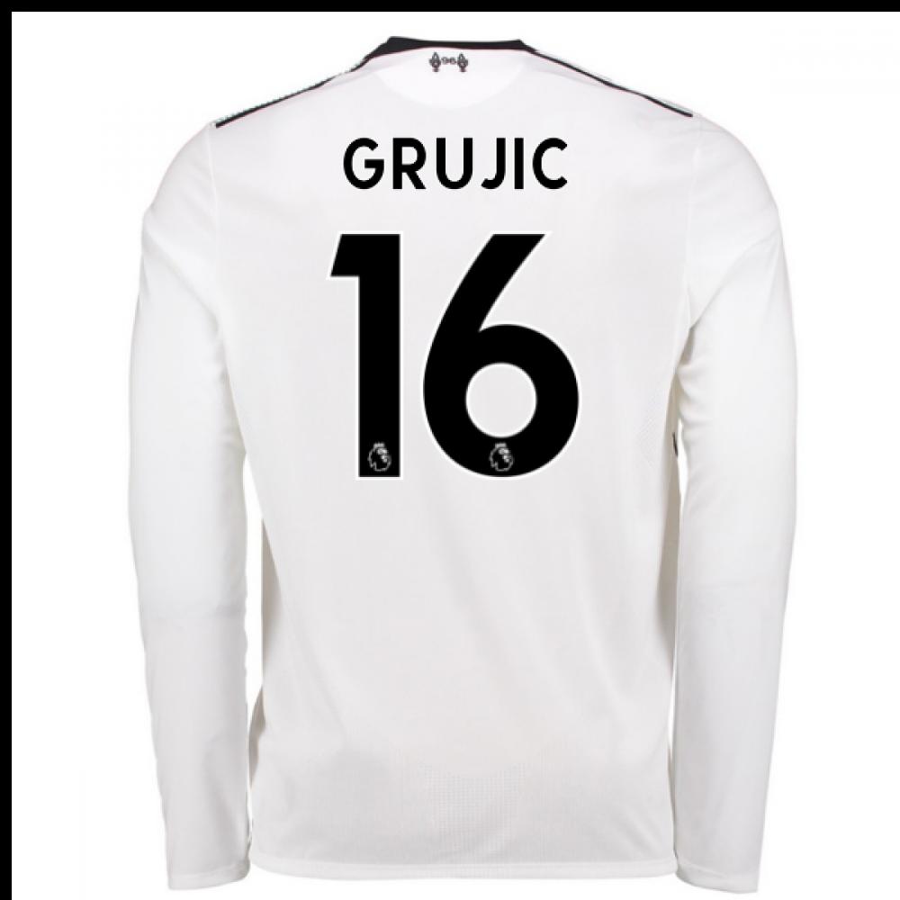 1ccc4f41d 2017-18 Liverpool Away Long Sleeve Shirt (Grujic 16) - Kids ...