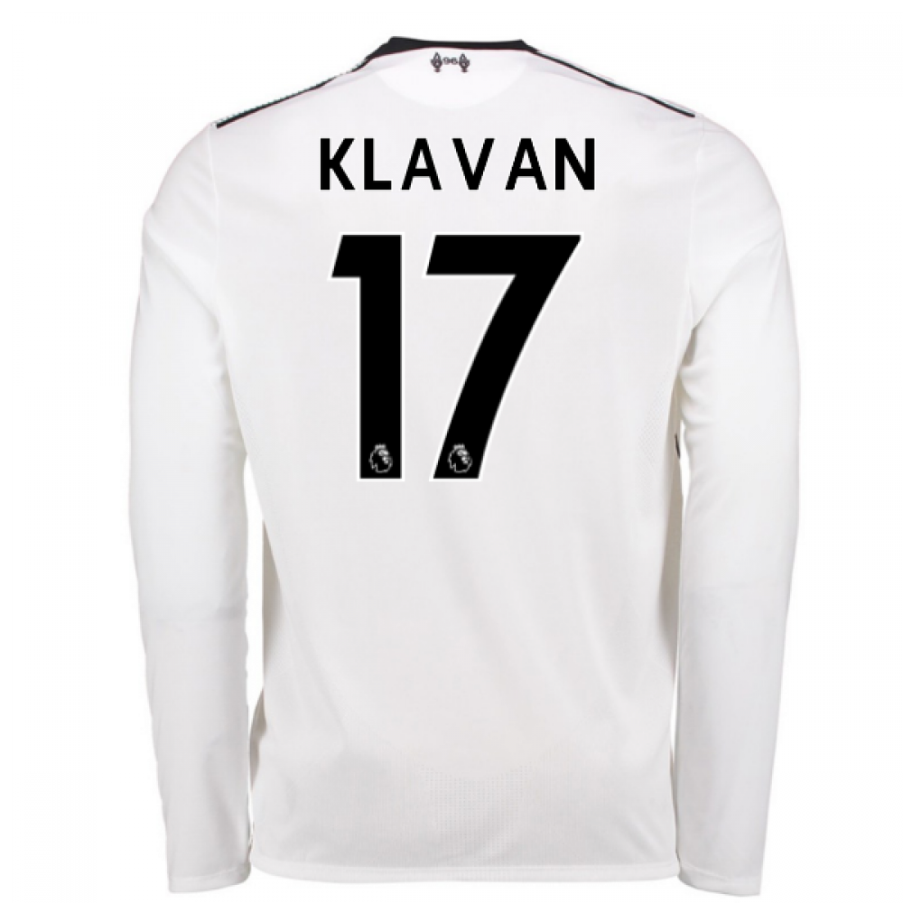 cffb9afeb 2017-18 Liverpool Away Long Sleeve Shirt (Klavan 17) - Kids ...