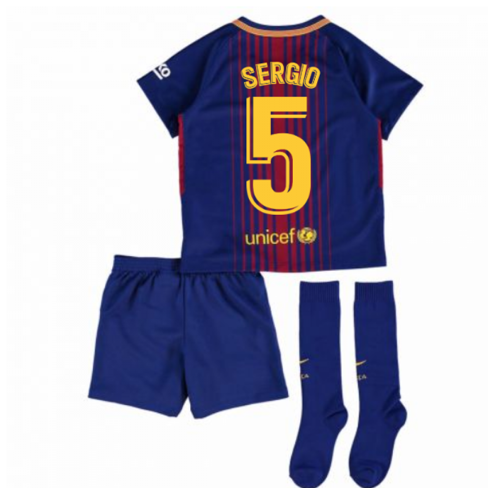 c5fe90ec9 2017-2018 Barcelona Home Nike Little Boys Mini Kit (With Sponsor) (Sergio