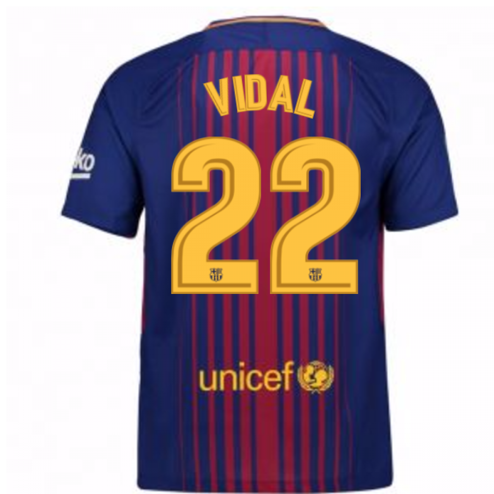 pretty nice 589ea e146c 2017-2018 Barcelona Home Shirt (Vidal 22)