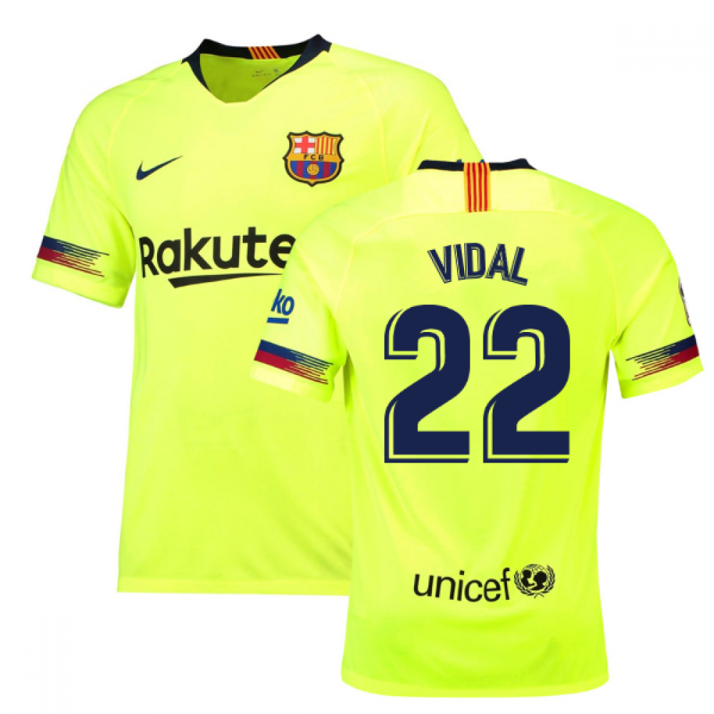 big sale 28bcf b4db6 2018-19 Barcelona Away Shirt (Vidal 22)