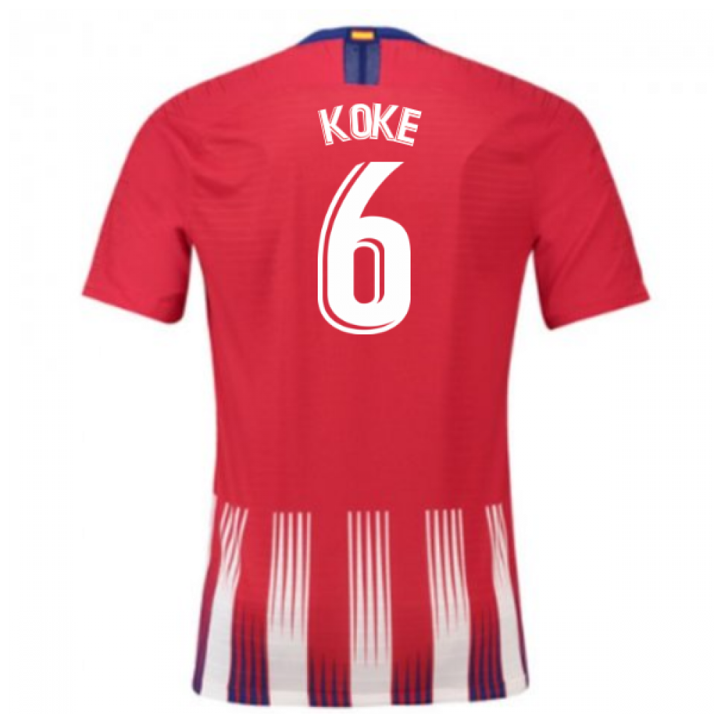 new arrival 44905 92ddb 2018-2019 Atletico Madrid Authentic Vapor Match Home Nike Shirt (Koke 6)