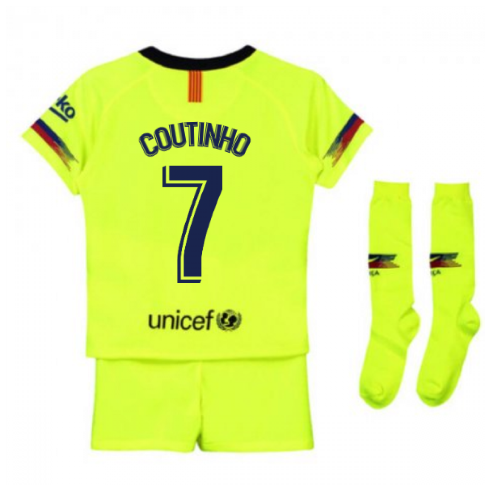 brand new 8c428 3519a 2018-2019 Barcelona Away Nike Little Boys Mini Kit (Coutinho 7)