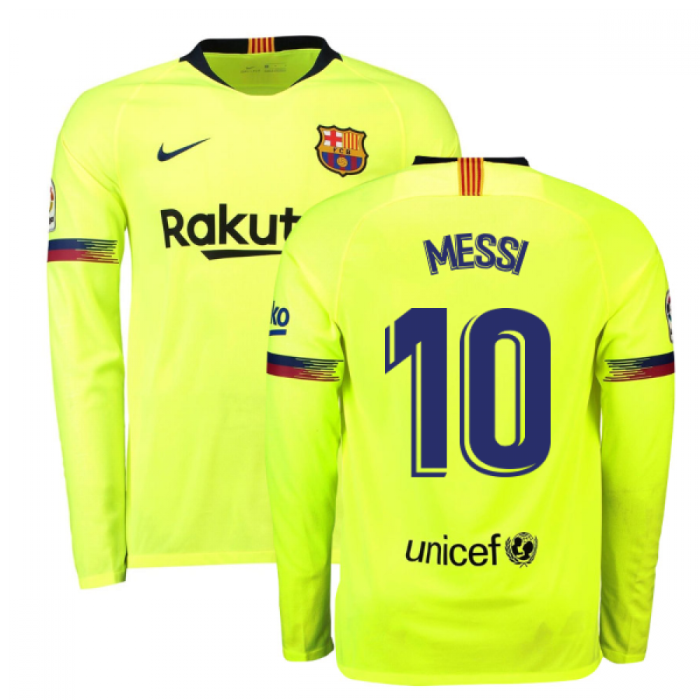 big sale 6862e a6ae5 2018-2019 Barcelona Away Nike Long Sleeve Shirt (Messi 10)