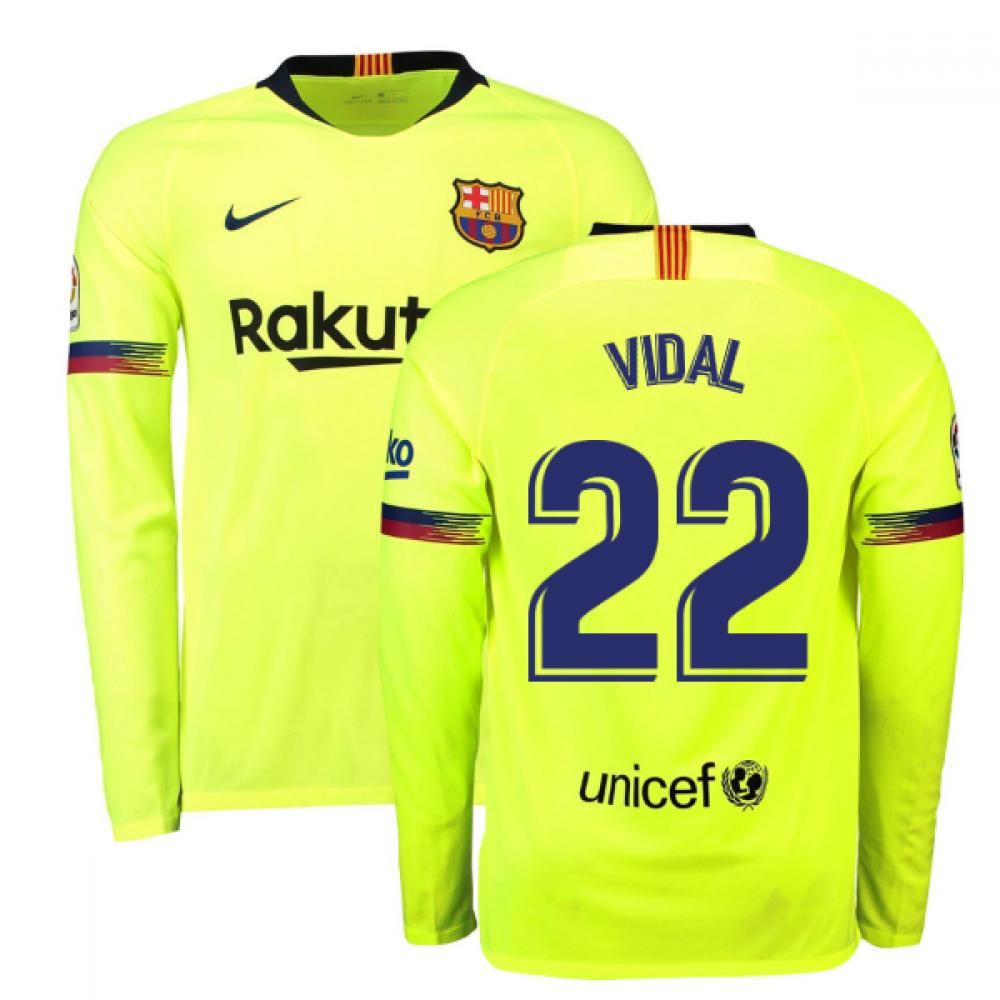 1fe3eadae43 2018-2019 Barcelona Away Nike Long Sleeve Shirt (Vidal 22) [919045-703-125915]  - $107.83 Teamzo.com