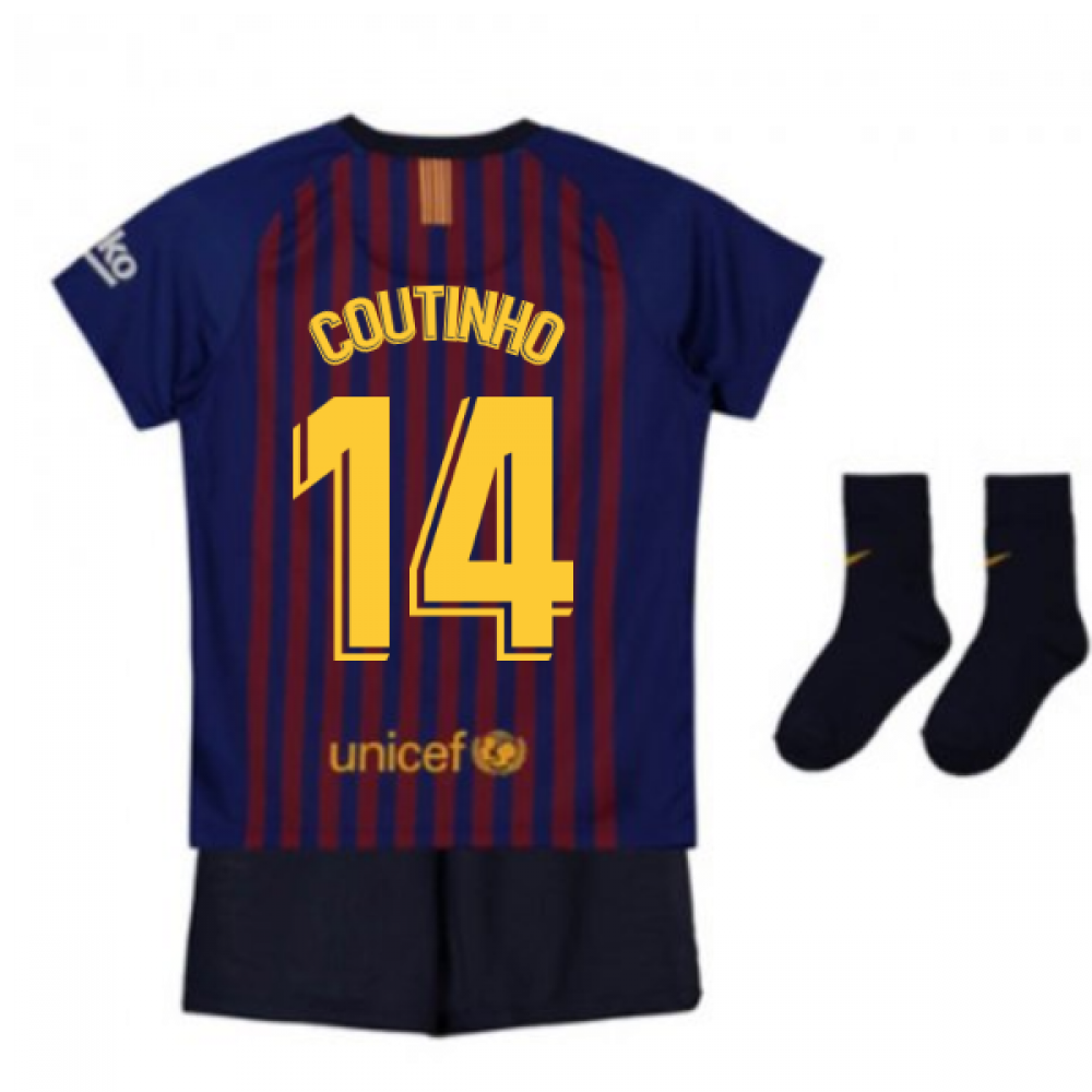 cheap for discount 028b2 c1ed1 2018-2019 Barcelona Home Nike Baby Kit (Coutinho 14)