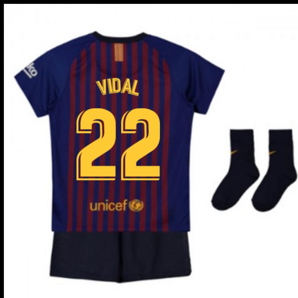 online retailer bd70d 0c239 2018-2019 Barcelona Home Nike Baby Kit (Vidal 22)