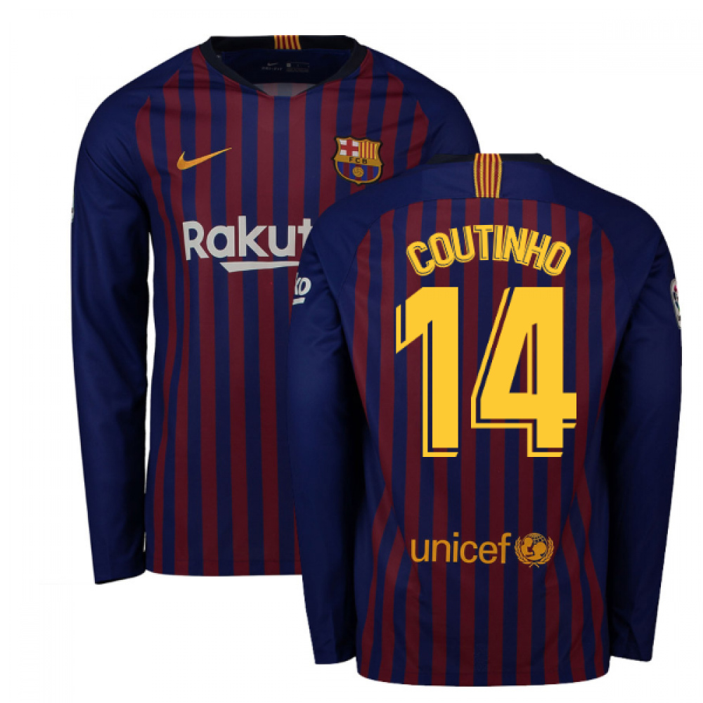 pretty nice b77cc 7d708 2018-2019 Barcelona Home Nike Long Sleeve Shirt (Coutinho 14)