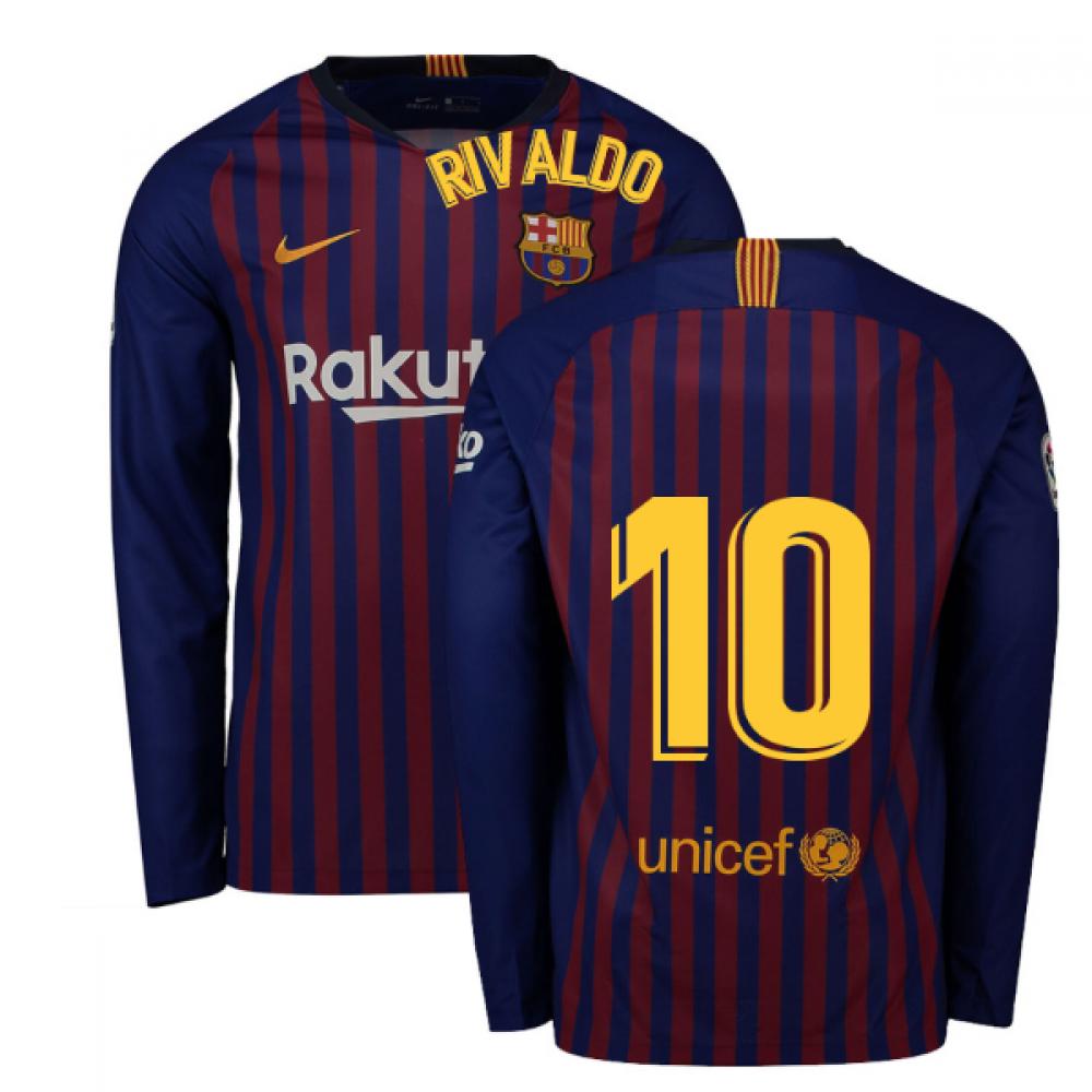 hot sale online 1ed55 87e6e 2018-2019 Barcelona Home Nike Long Sleeve Shirt (Rivaldo 10)