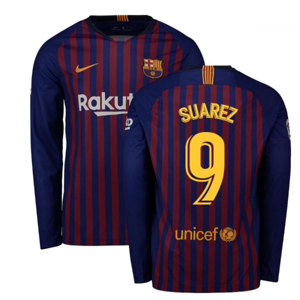 efd809498 2018-2019 Barcelona Home Nike Long Sleeve Shirt (Suarez 9)  919061 ...
