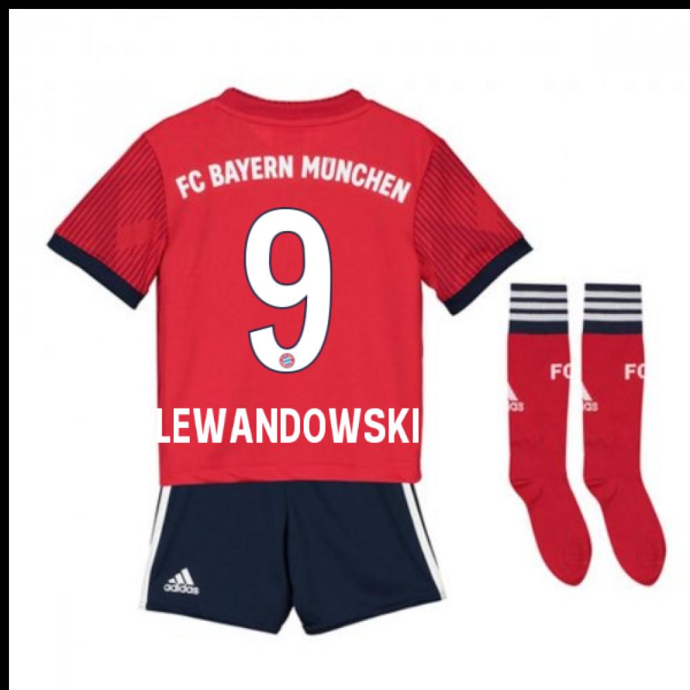 half off 49b57 f85df 2018-2019 Bayern Munich Adidas Home Little Boys Mini Kit (Lewandowski 9)
