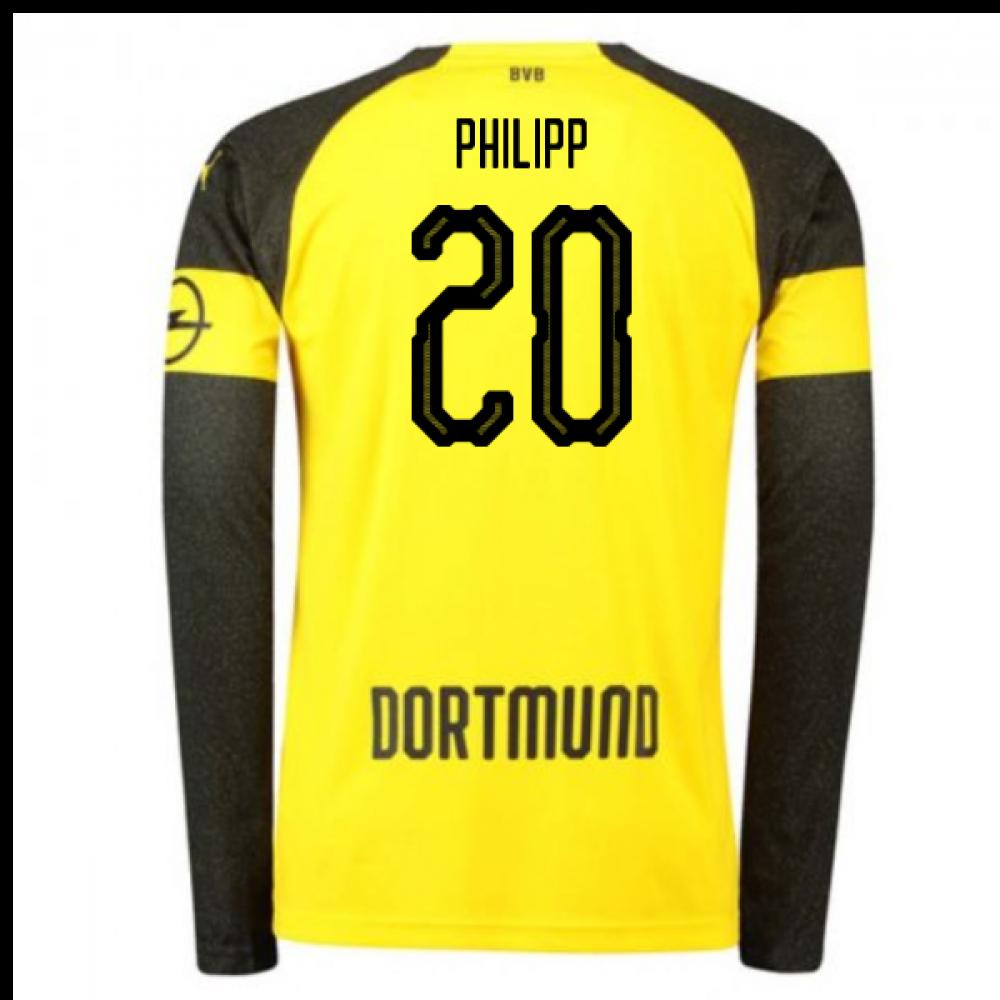 51f11aeb95c 2018-2019 Borussia Dortmund Home Long Sleeve Puma Shirt (Philipp 20 ...