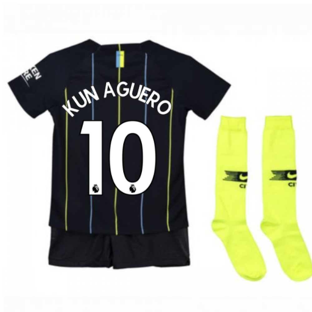 2019 City: 2018-2019 Man City Away Nike Little Boys Mini Kit (Kun