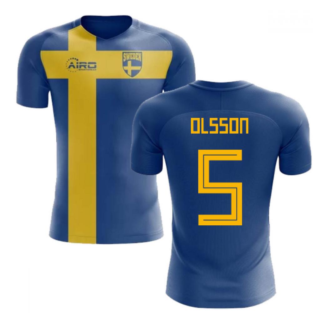 91a7bfe90 2018-2019 Sweden Flag Concept Football Shirt (Olsson 5) - Kids ...