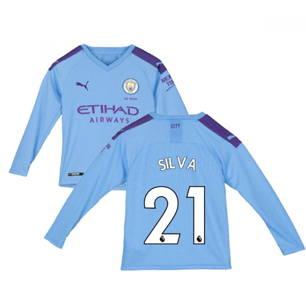 brand new 456fd 10b44 2019-2020 Manchester City Puma Home Long Sleeve Shirt (Kids) (SILVA 21)