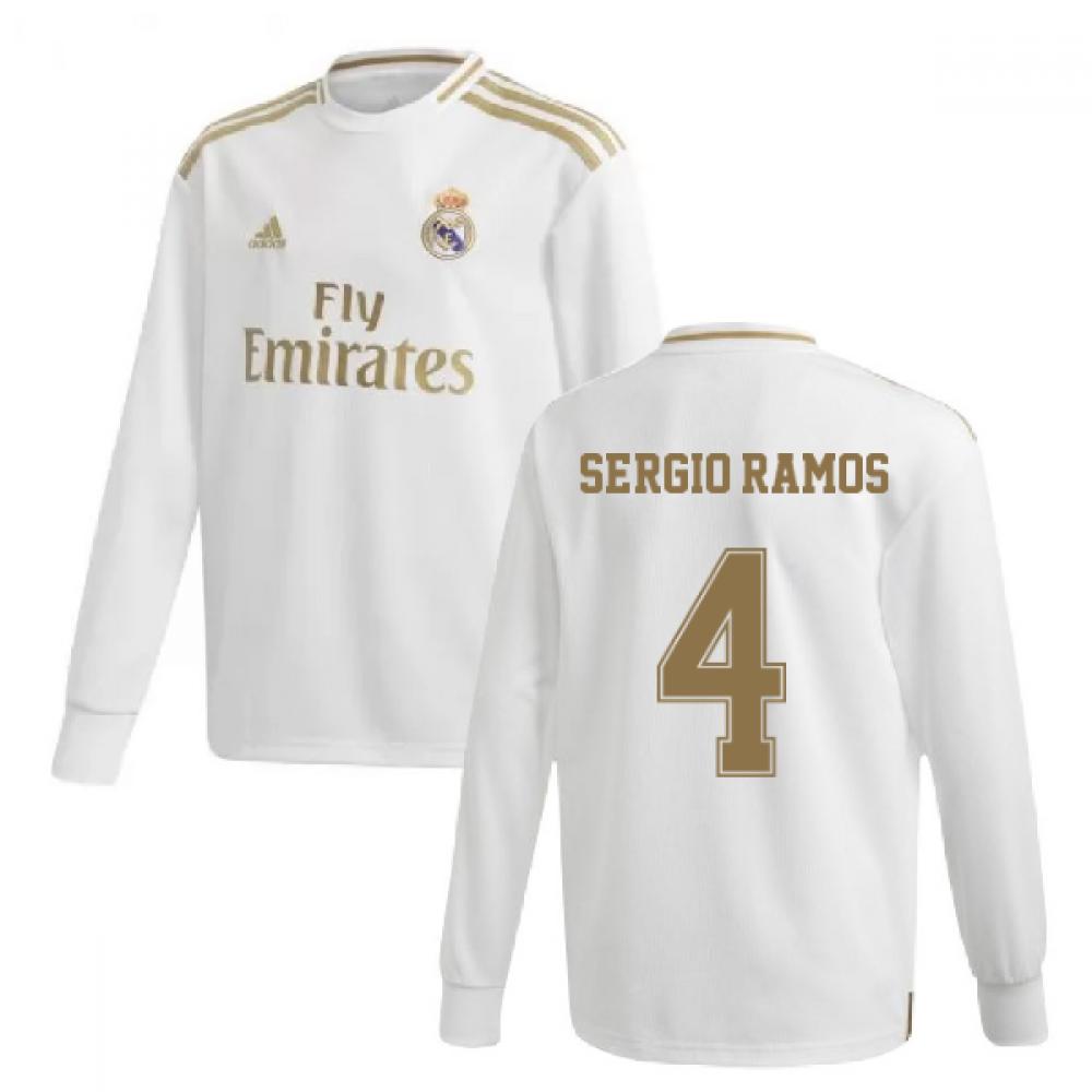 2019-2020 Real Madrid Adidas Home Long Sleeve Shirt (Kids) (SERGIO RAMOS 4)