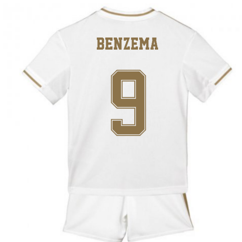 cheap for discount d0c1d 7dd7d 2019-2020 Real Madrid Adidas Home Mini Kit (BENZEMA 9)