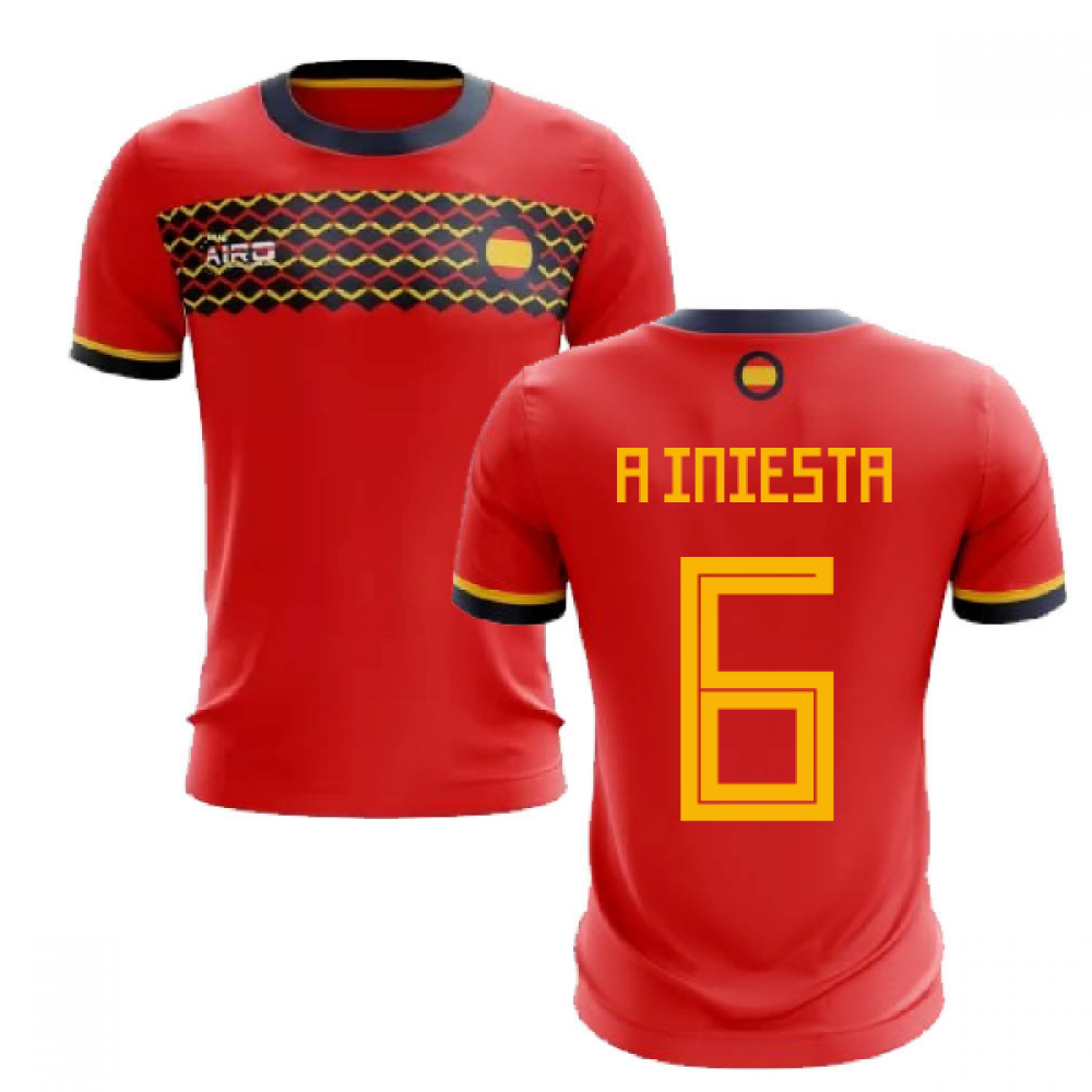2019-2020 Spain Home Concept Football Shirt (A Iniesta 6)