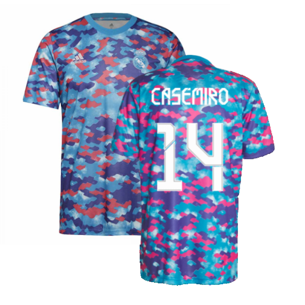 Real Madrid 2021-2022 Pre-Match Training Shirt (Pink) (CASEMIRO 14)