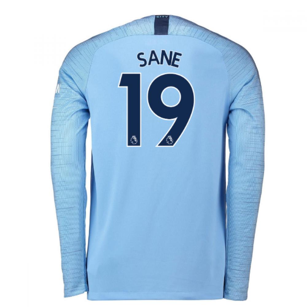 detailed look c1d58 07c75 2018-2019 Man City Home Nike Long Sleeve Shirt (Sane 19)