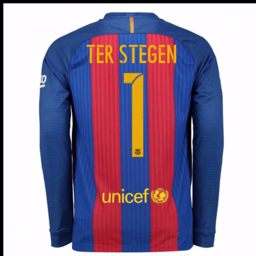 87ee4bbc9 2016-17 Barcelona Home Long Sleeve Shirt (Ter Stegen 1)  776847-481 ...