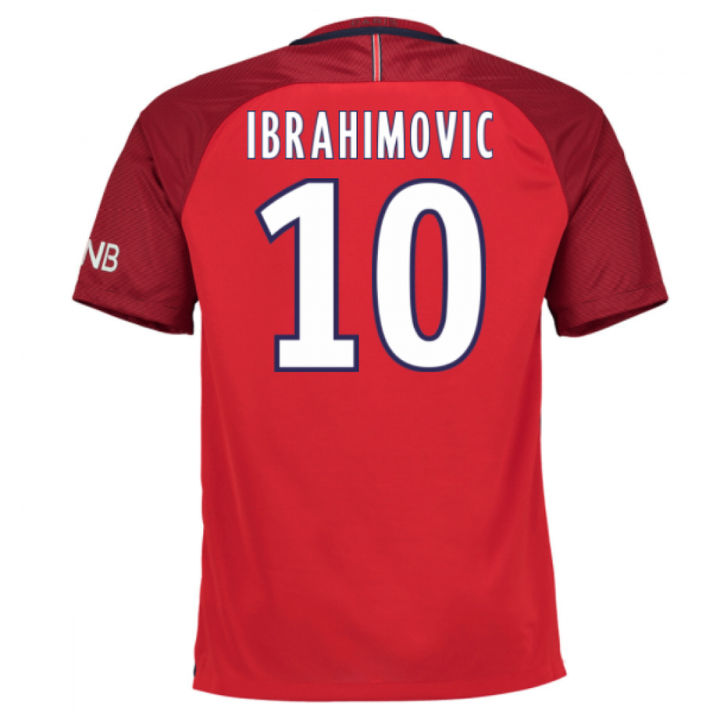 paris saint germain 10 ibrahimovic zlatan red short sleeve mens adults 2016 2017 club soccer. Black Bedroom Furniture Sets. Home Design Ideas