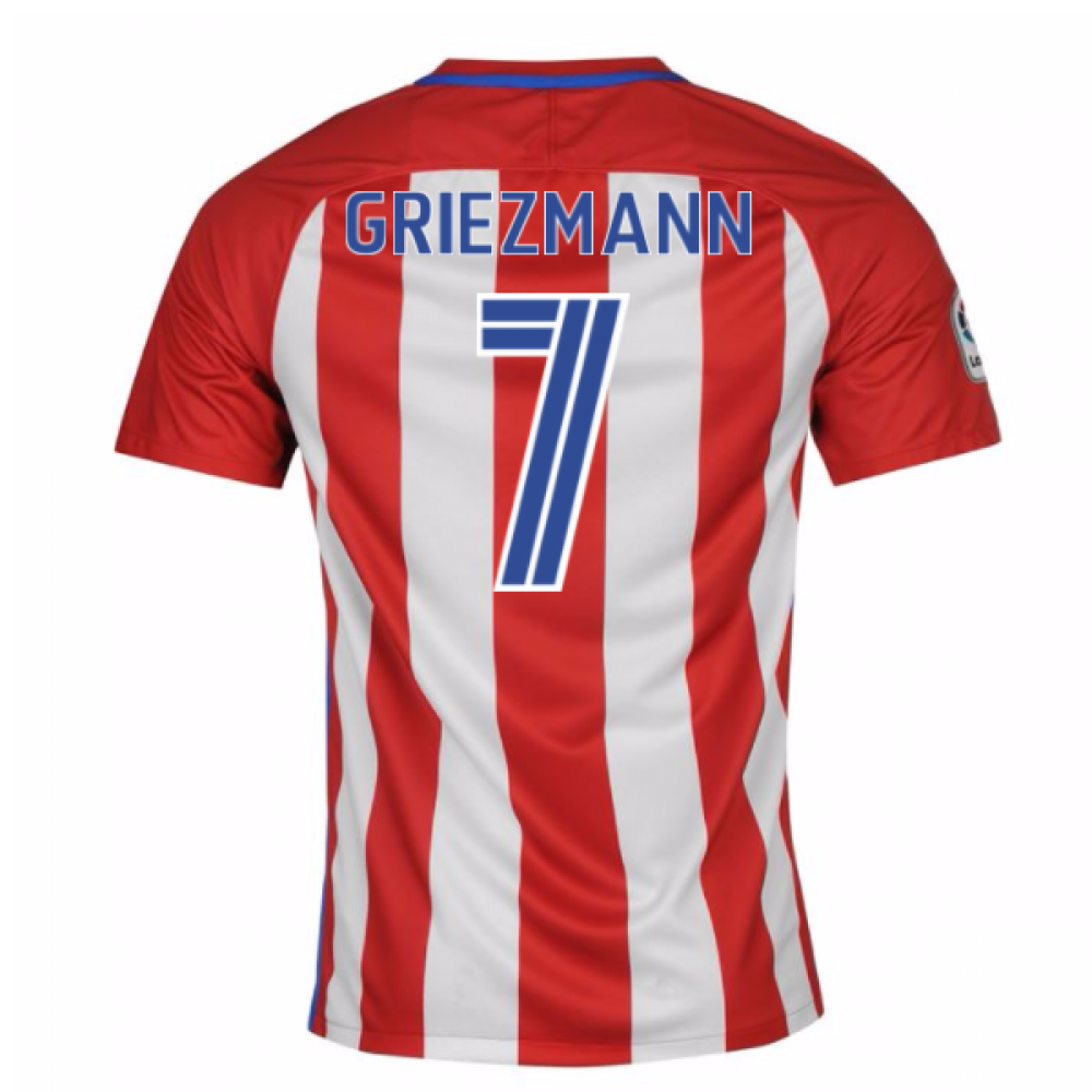 96ee796bb 2016-17 Atletico Madrid Home Shirt (Griezmann 7) - Kids 808526-649 Youth  201516 Atletico Madrid Antoine Griezmann Soccer Jersey ...