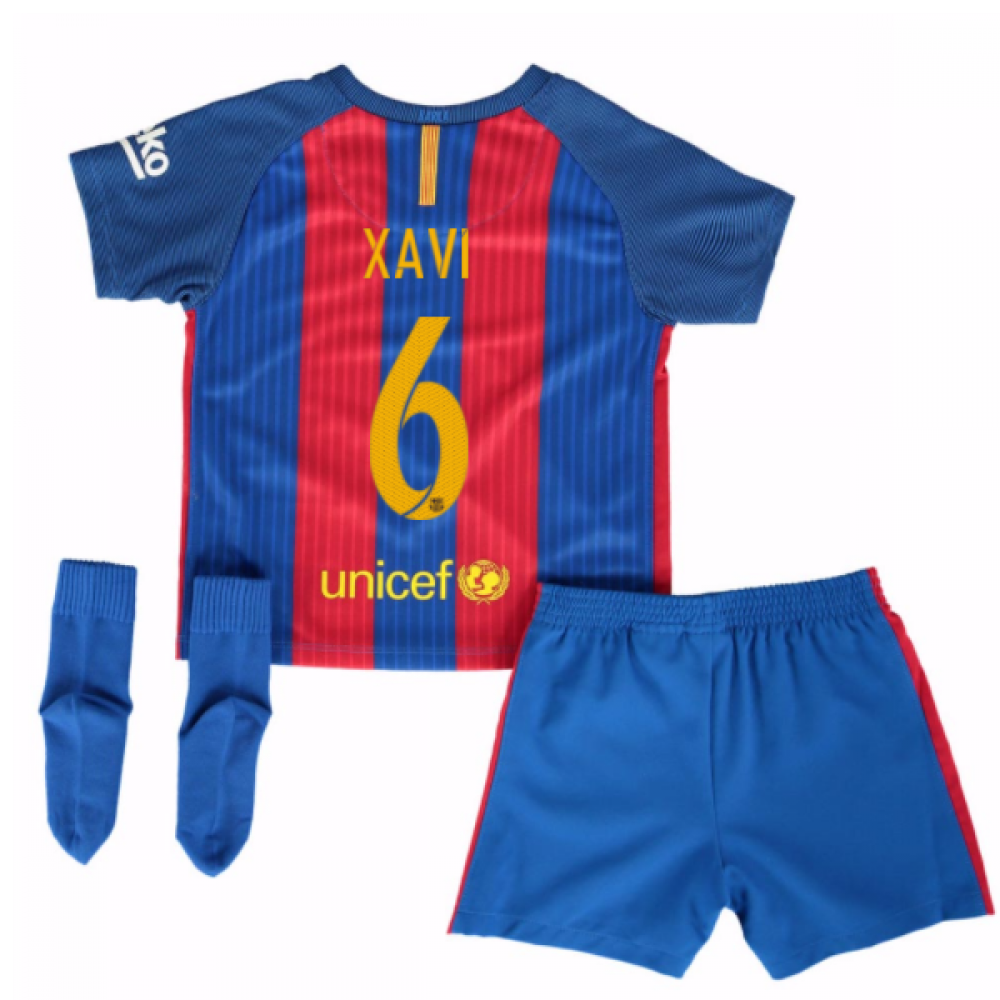 wholesale dealer 51f7b a5770 2016-17 Barcelona Home Baby Kit (Xavi 6)