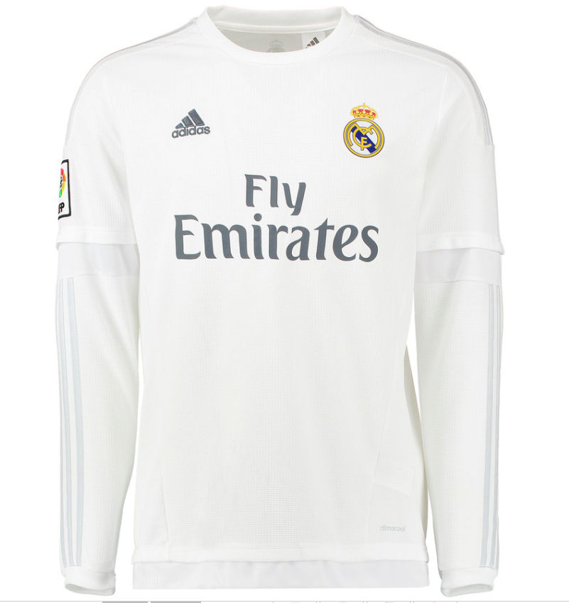 04aed03a9 ... Real Madrid 2015-2016 Home Long Sleeve Shirt (Kids) Amazon.com Ronaldo  7 Real Madrid Home Kids Soccer Jersey Kit with Free Shorts Youth ...