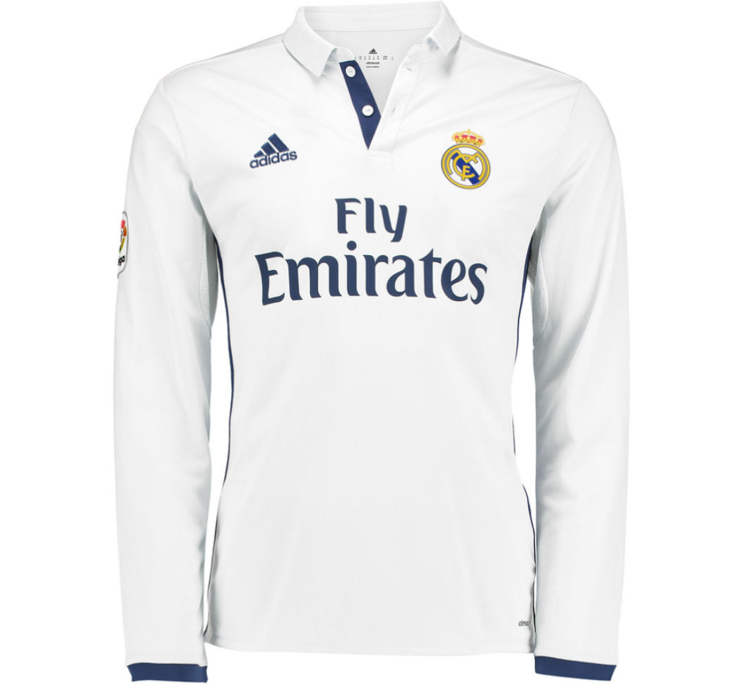 4e8c621f0 Real Madrid 2016-2017 Home Long Sleeve Shirt (Kids)  AI5190 ...