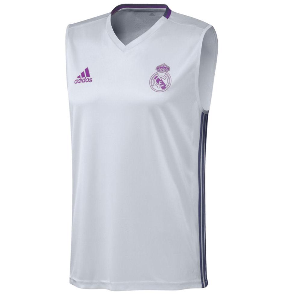 Black Mens V-Neck Sleeveless Real Madrid Training Sleevless Jersey