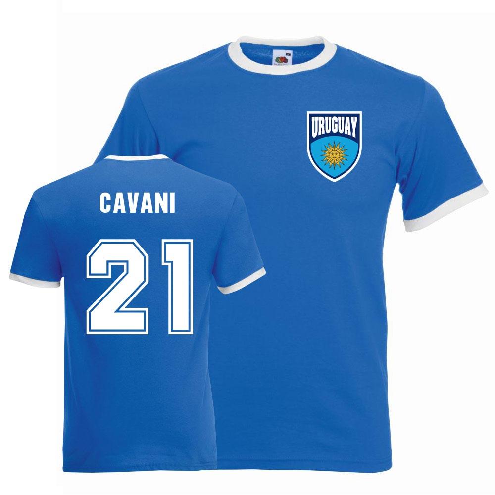 sale retailer b235e 631d3 Edinson Cavani Uruguay Ringer Tee (blue)